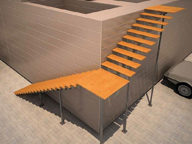 Outdoor aluminium and wood open staircase aster by persea for Escalera exterior de 6 escalones