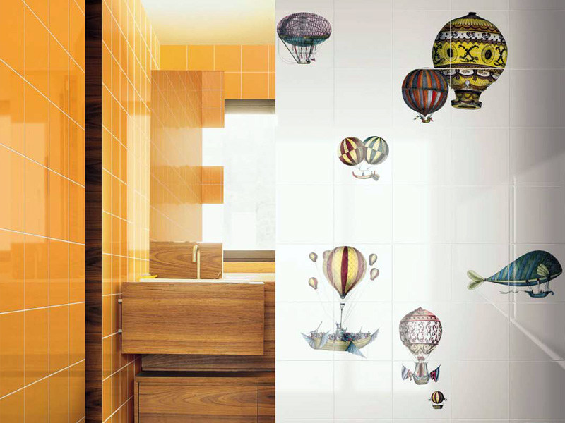 Rivestimento in ceramica macchine volanti by ceramica bardelli - Piastrelle bardelli bagno ...