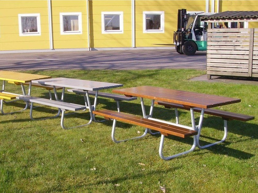 Picnic table with integrated benches STEEL PICNIC by Nola Industrier