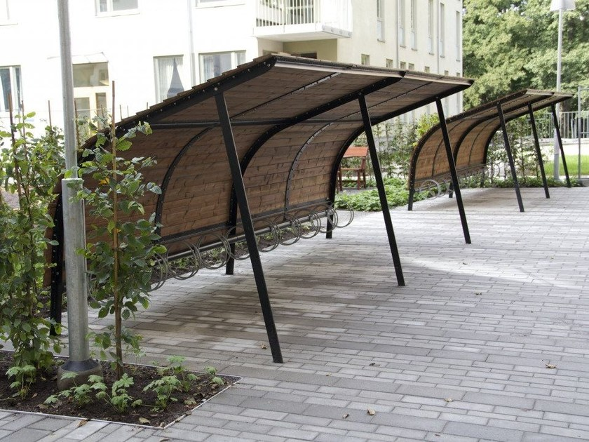 Steel and wood porch for bicycles and motorcycles REVET by Nola Industrier