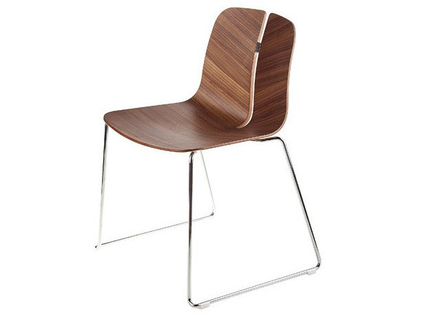 Sled base stackable wooden chair LINK | Sled base chair by Lapalma