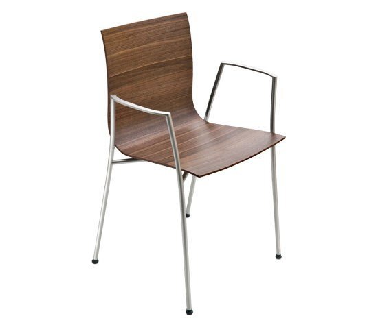 Stackable chair with armrests THIN | Chair with armrests by Lapalma