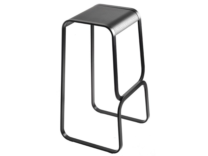 Sled base high stainless steel stool CONTINUUM by Lapalma