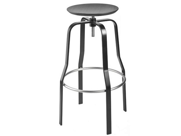 Height-adjustable steel and wood stool GIRO by Lapalma