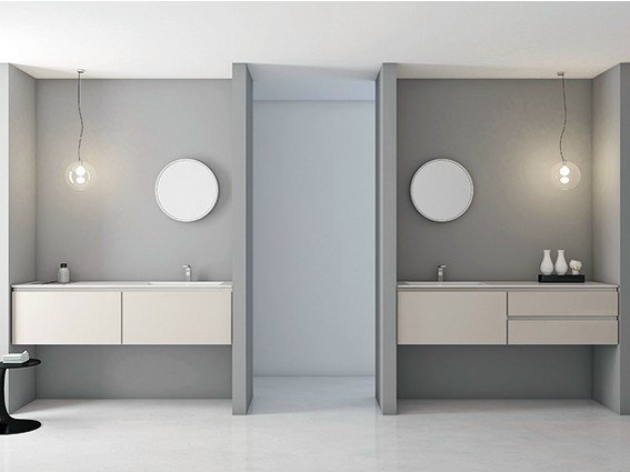 Lacquered vanity unit with drawers STRATO | Lacquered vanity unit by INBANI