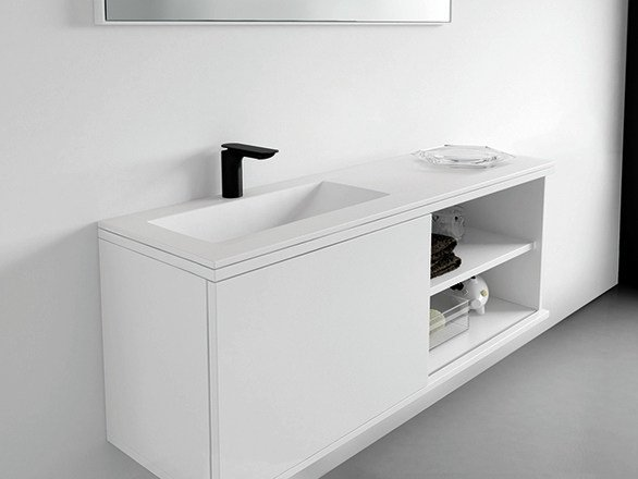 Lacquered vanity unit with doors STRATO | Vanity unit by INBANI
