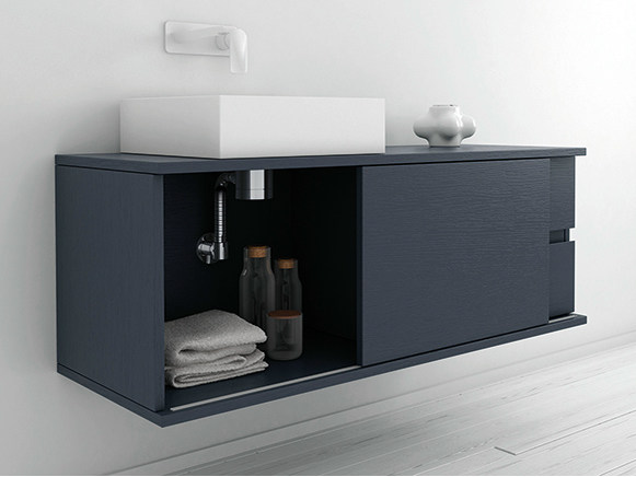 Lacquered wall-mounted vanity unit STRATO | Wall-mounted vanity unit by INBANI