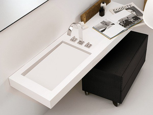 Single Corian® washbasin countertop A | Corian® washbasin countertop by INBANI