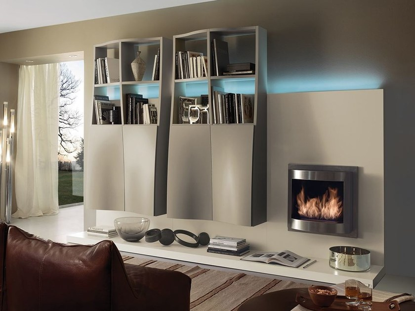 Wall-mounted storage wall with fireplace with integrated lighting LALTROGIORNO 803 by TUMIDEI