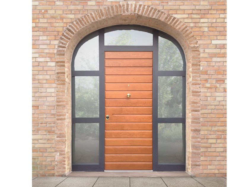 Arched glazed oak safety door ELITE - 16.5065 M60Vip by Bauxt