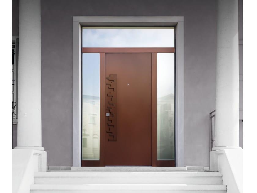 Porta d 39 ingresso blindata in acciaio corten con pannelli - Porta ingresso blindata ...