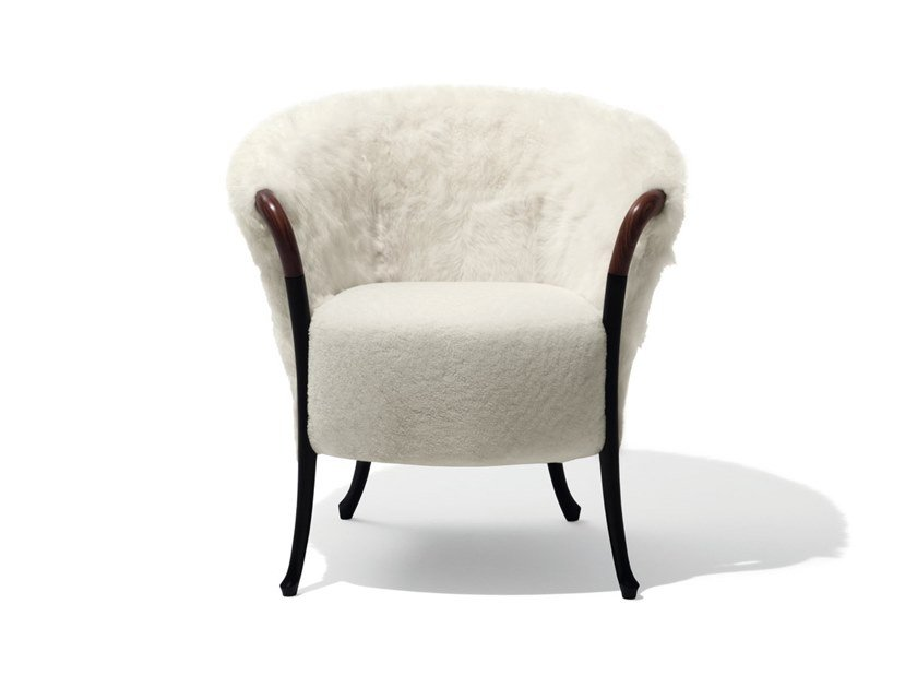 Fur easy chair with armrests PROGETTI FASHION | Natural sheepskin easy chair by GIORGETTI