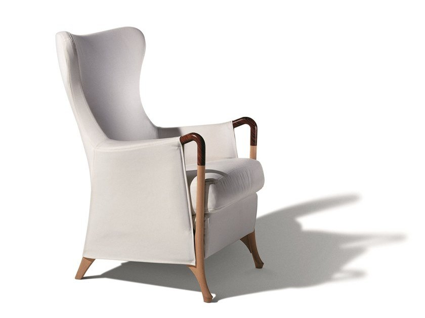 Wing fabric armchair with armrests PROGETTI | Wing armchair by GIORGETTI