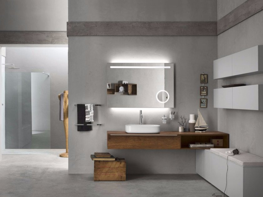 Sectional bathroom cabinet PROGETTO - Composition 1 by INDA®