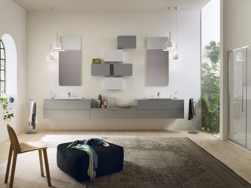Sectional bathroom cabinet PROGETTO - Composition 5 by INDA®