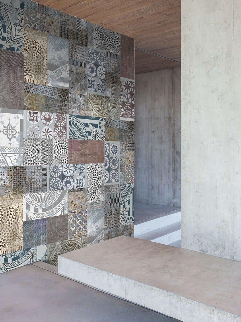 Rivestimento ceramico in grès laminato sottile decorato PROGETTO PATCHWORK by Officinarkitettura®