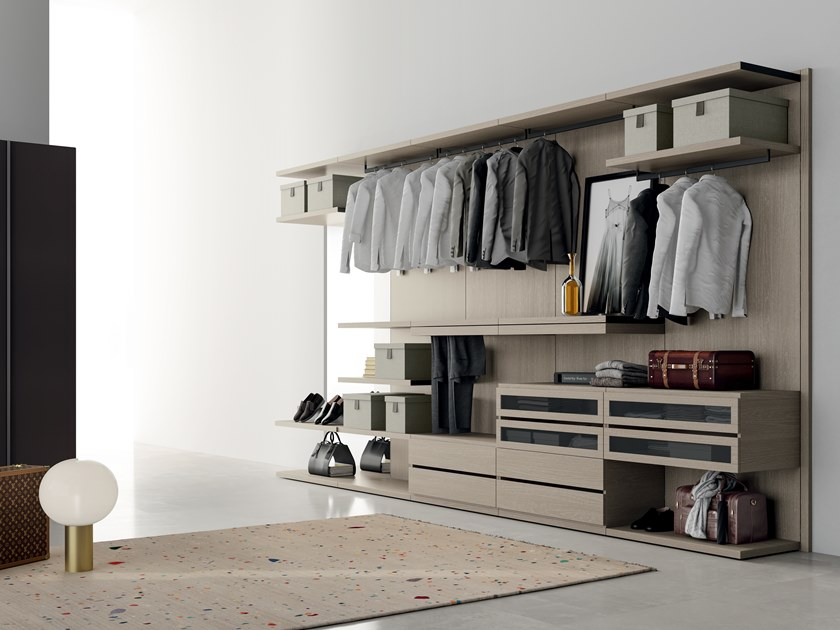 Sectional melamine-faced chipboard walk-in wardrobe PROJECT UP 01 by Dall'Agnese