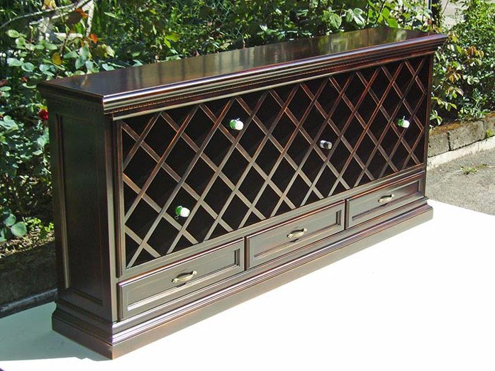 Lacquered solid wood wine cabinet PROJECTS | Wine cabinet by Arvestyle
