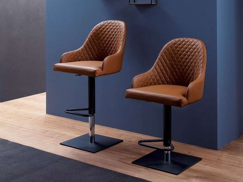 Upholstered leather stool with gas lift PROMETEO by Ozzio Italia