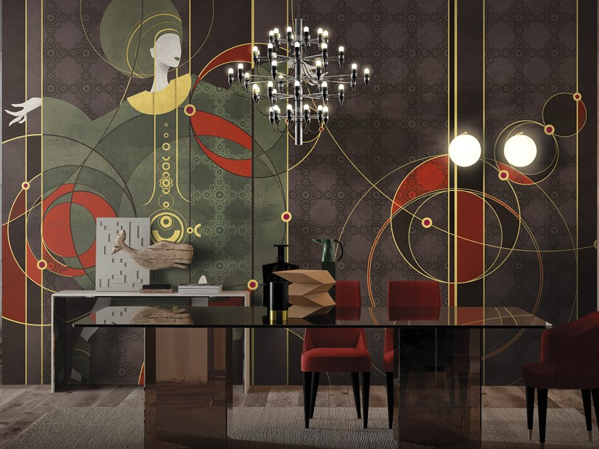 Panoramic wallpaper with textile effect PROPHECY by Inkiostro Bianco