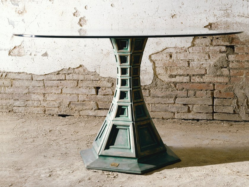Round metal and crystal table PROSPETTICA   Crystal table by Mirabili