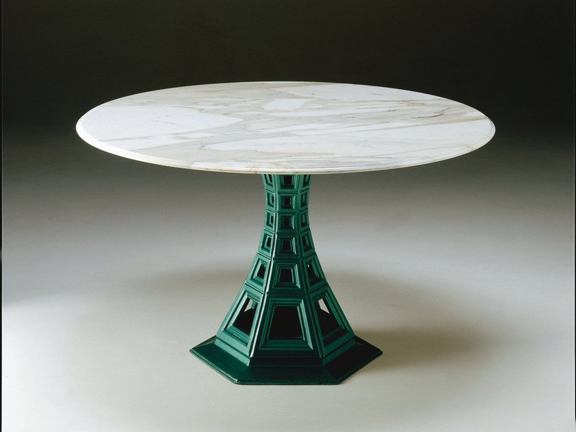 Round metal and marble table PROSPETTICA | Marble table by Mirabili