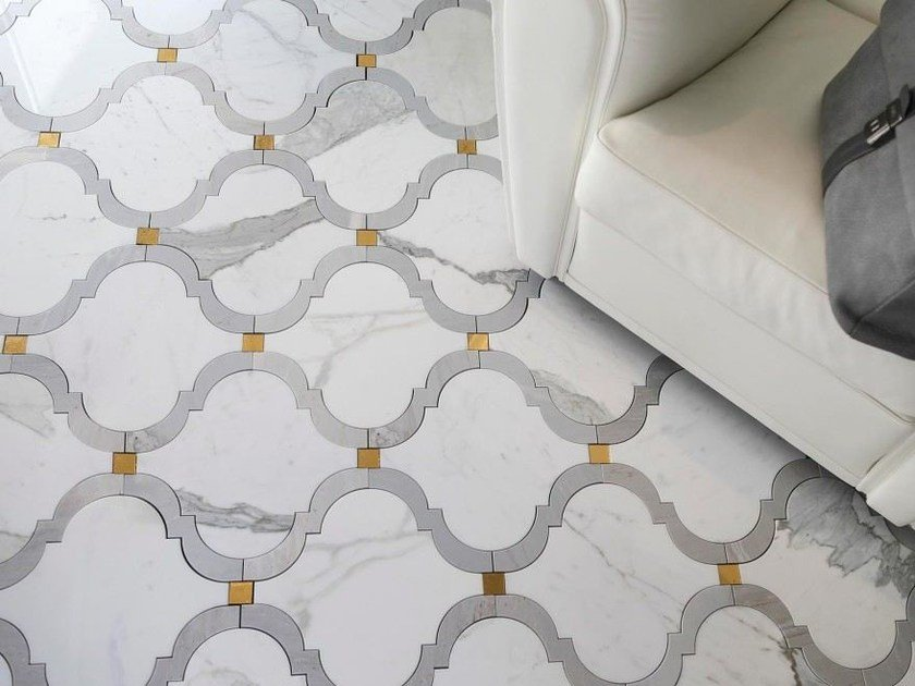 Marble mosaic PROVENCE 2 CL/PB/ GLASS LUX GOLD by Lithos Mosaico Italia