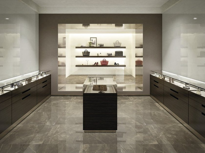 Indoor/outdoor porcelain stoneware wall/floor tiles with marble effect PULPIS BRONZE by FMG