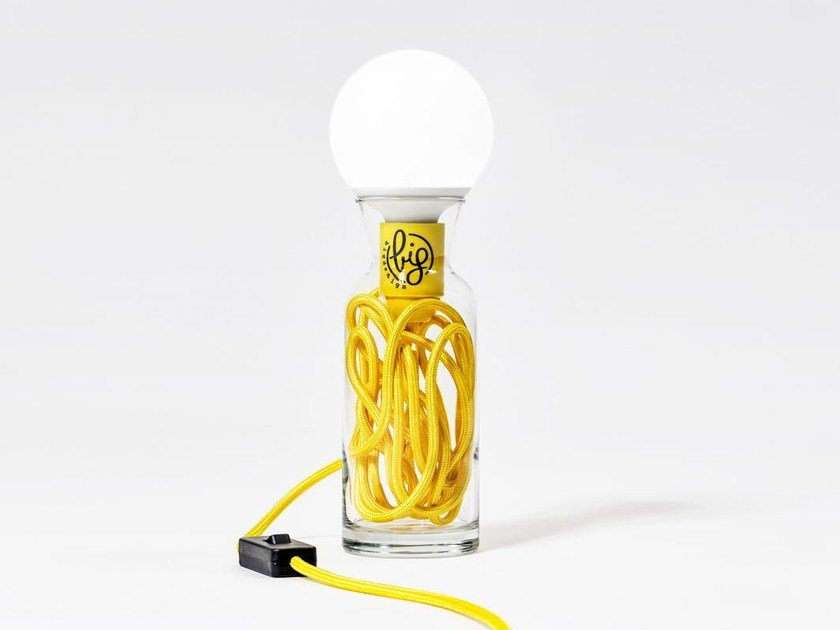 LED direct light glass table lamp PULSE YELLOW by bigdesign