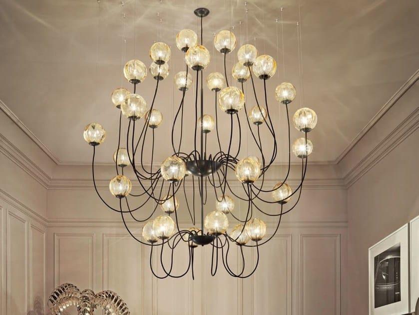 Direct light blown glass pendant lamp PUPPET SP 36P by Vetreria Vistosi