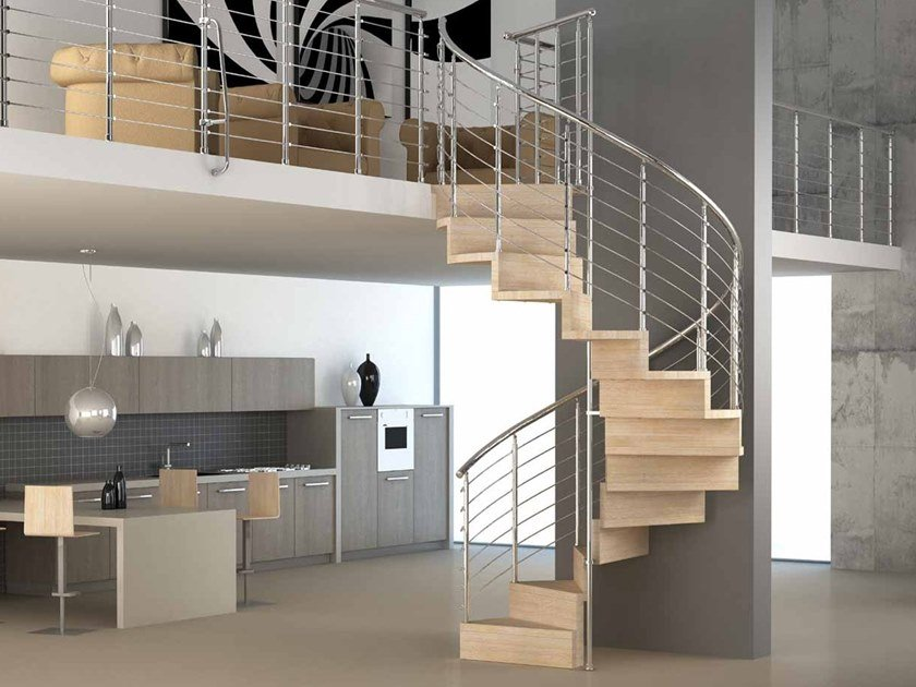 Helical wooden Spiral staircase PURA by MOBIROLO