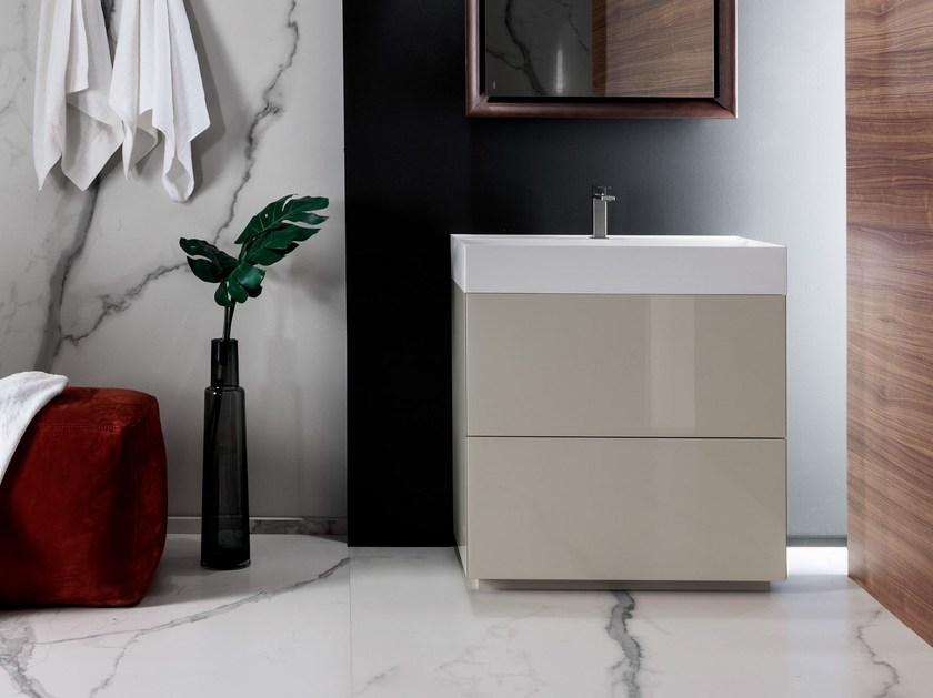Wooden vanity unit with drawers PURE | Single vanity unit by FALPER