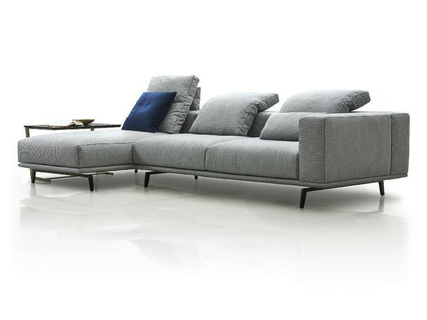 Fabric sofa with removable cover with chaise longue PURE | Sofa with chaise longue by Papadatos