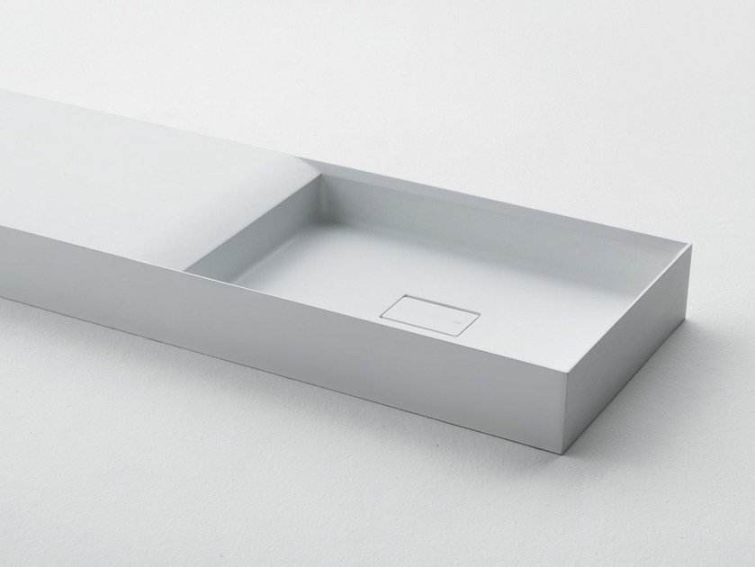 Rectangular Ceramilux® washbasin with integrated countertop PURE | Washbasin by FALPER