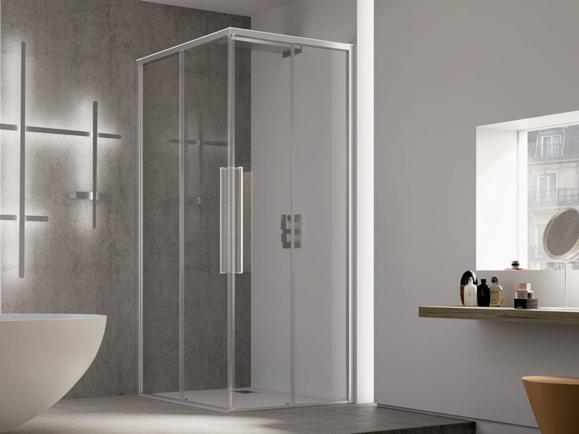 Corner shower cabin with sliding door PURO A+A by RELAX