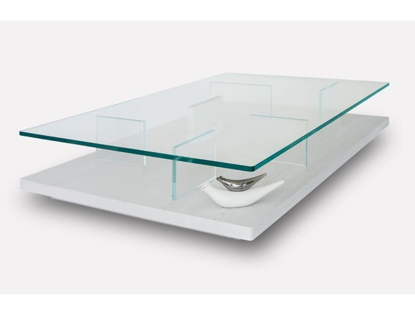 Rectangular wood and glass coffee table PURO | Rectangular coffee table by MORADA