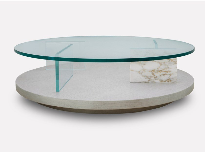Low round wood and glass coffee table PURO   Round coffee table by MORADA