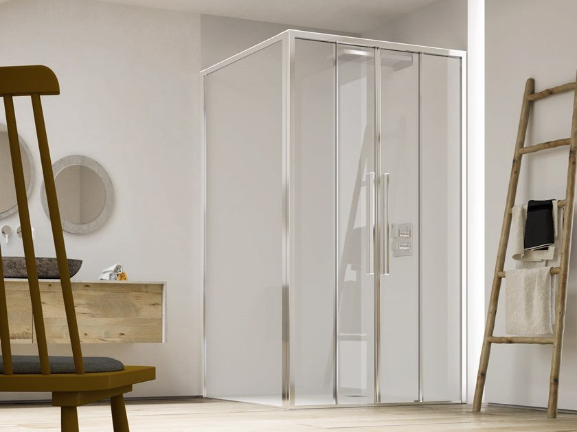 Corner shower cabin with sliding door PURO SC2+F4 by RELAX
