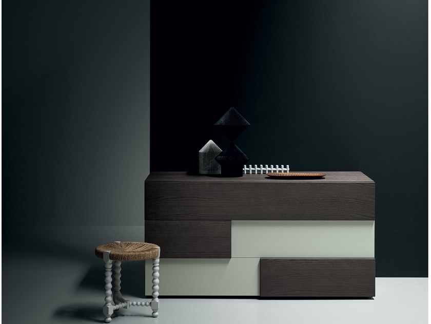 Lacquered chest of drawers with integrated handles PUZZLE | Chest of drawers by Md House