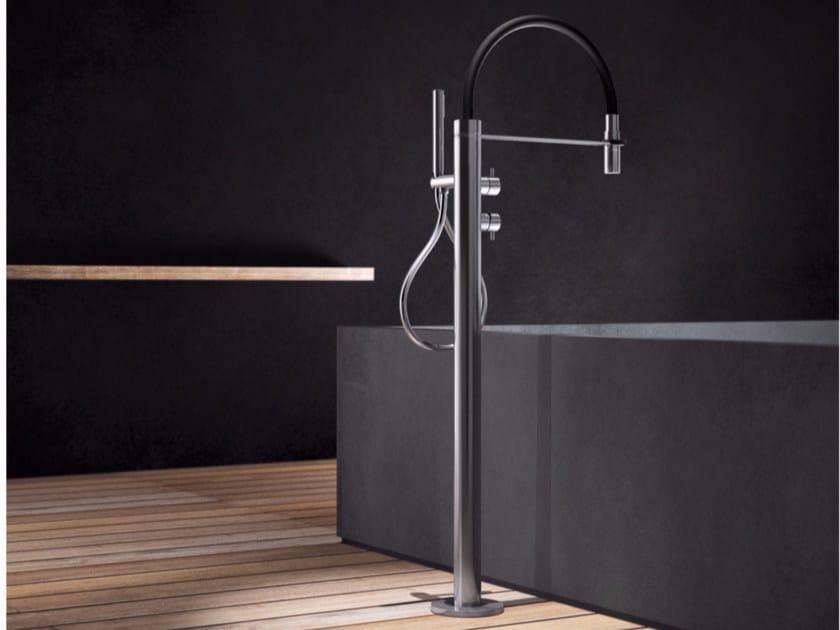 Floor standing stainless steel bathtub mixer with hand shower PV2 - TXQ by Radomonte