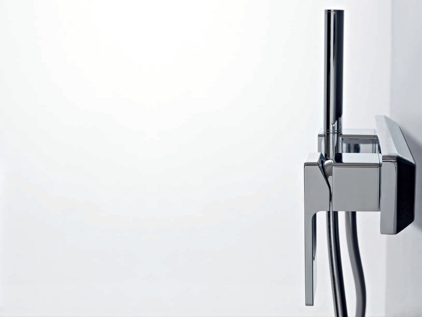 Chrome-plated shower mixer with hand shower QQUADRO by ZAZZERI