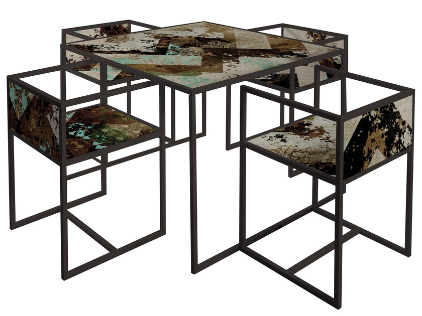 Square painted metal table QR-2A/2B by MOMENTI