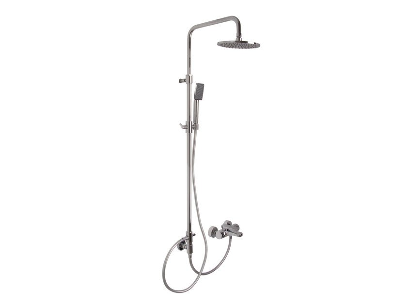 Shower wallbar with hand shower with mixer tap with overhead shower QUAD F3724/2 | Shower wallbar by FIMA Carlo Frattini