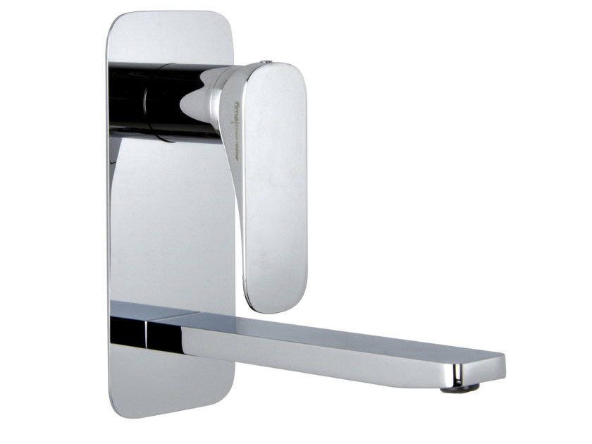 Wall-mounted washbasin mixer with plate QUAD F3741VX5 | Washbasin mixer by FIMA Carlo Frattini