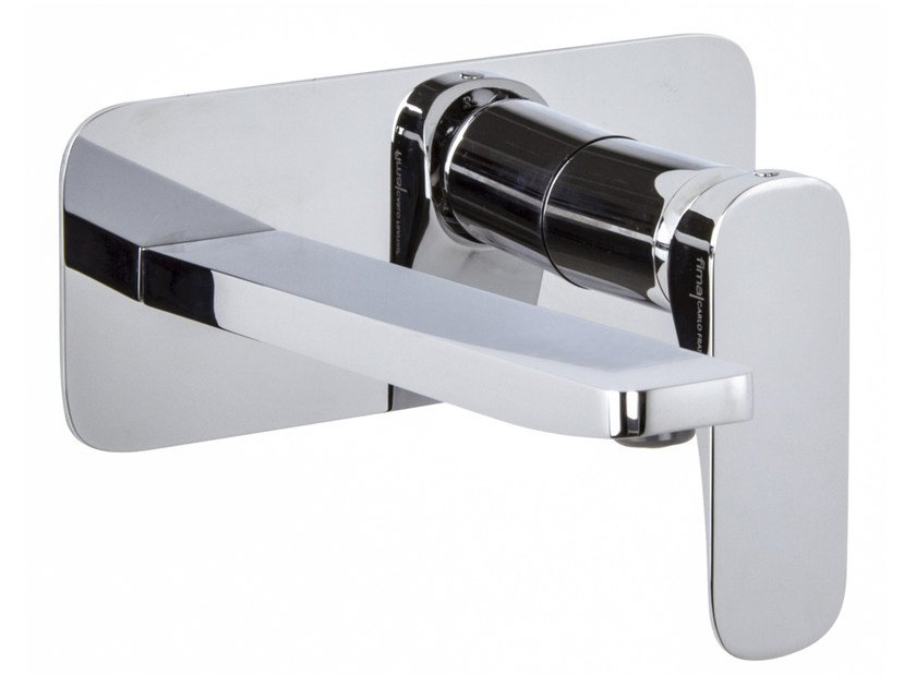 Wall-mounted washbasin mixer with plate QUAD F3741X5 | Washbasin mixer by FIMA Carlo Frattini