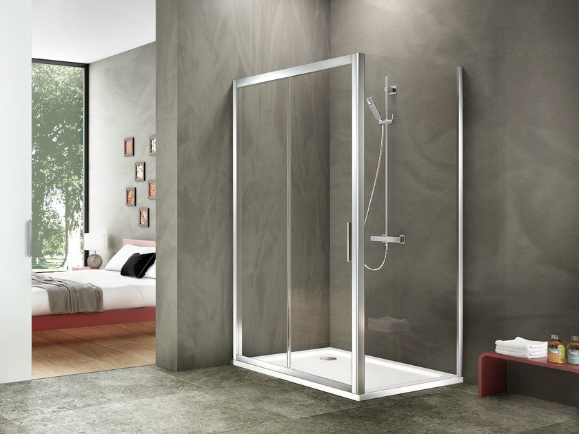 Corner rectangular glass and aluminium shower cabin STILA 2000 by Duka
