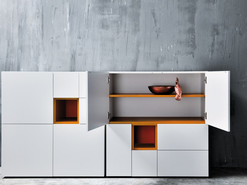 Lacquered highboard with doors QUADRI by Silenia