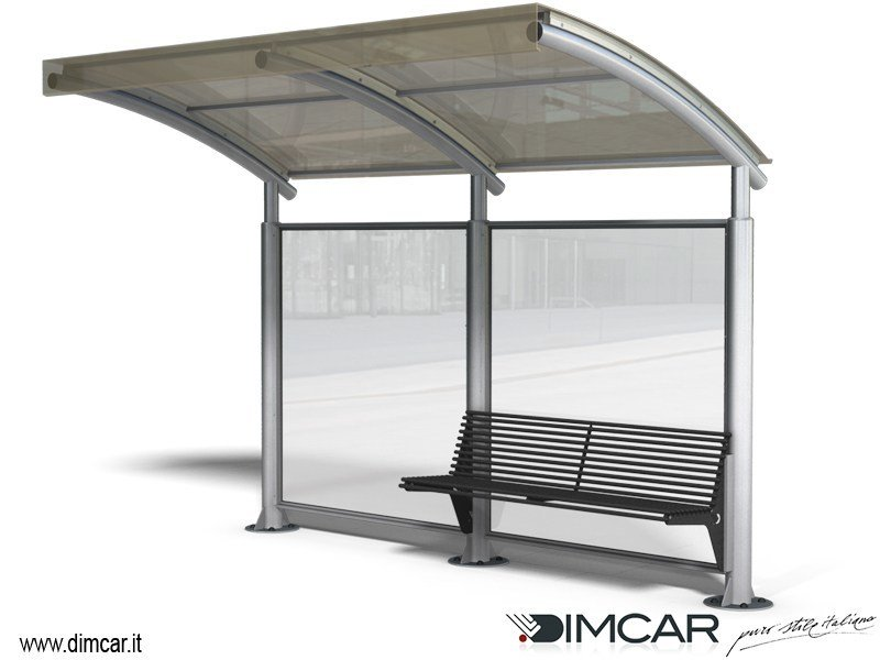 Steel porch for bus stop Pensilina Space a sbalzo by DIMCAR