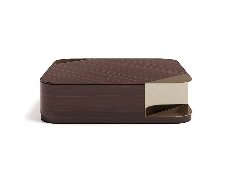 Low square wooden coffee table QUADRO by Capital Collection