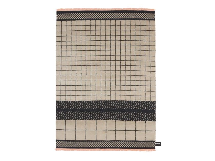 Tappeto fatto a mano in lana a motivi geometrici QUADRO CELESTE #31 by cc-tapis